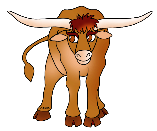 United States Clip Art By Phillip Martin Texas State Large Mammal Longhorn Cattle